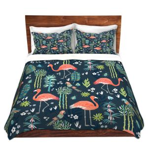 Artistic Duvet Covers and Shams Bedding | Jill O Connor - Painted Flamingos | Floral, Flowers,animals, parrot, pattern