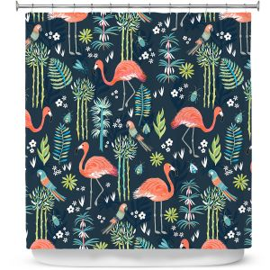 Premium Shower Curtains | Jill O Connor - Painted Flamingos | Floral, Flowers,animals, parrot, pattern