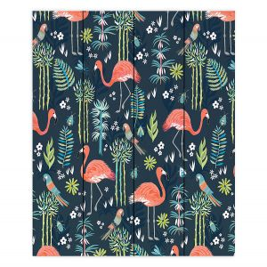 Decorative Wood Plank Wall Art | Jill O Connor - Painted Flamingos | Floral, Flowers,animals, parrot, pattern