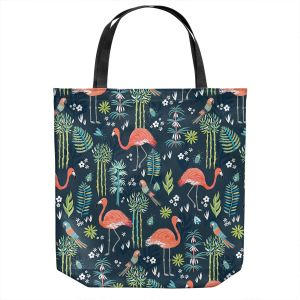 Unique Shoulder Bag Tote Bags | Jill O Connor - Painted Flamingos | Floral, Flowers,animals, parrot, pattern