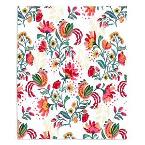 Decorative Fleece Throw Blankets | Jill O Connor - Scandinavian Festiv Floral | Floral, Flowers