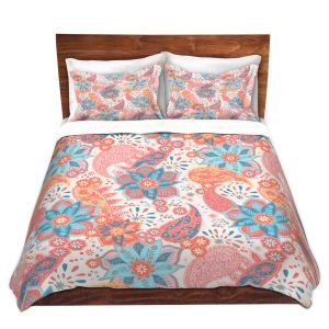 Artistic Duvet Covers and Shams Bedding   Jill O Connor - Summer Boho   Floral, Flowers, pattern