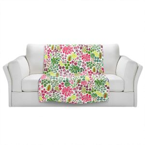 Artistic Sherpa Pile Blankets | Jill O Connor - Tropical Botanical | Floral, Flowers
