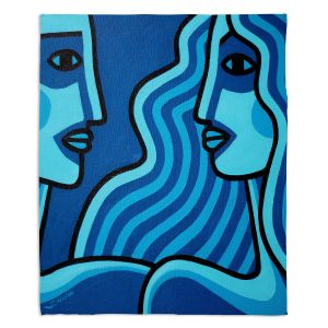 Artistic Sherpa Pile Blankets | John Nolan - Blue Lovers | people portrait surreal abstract