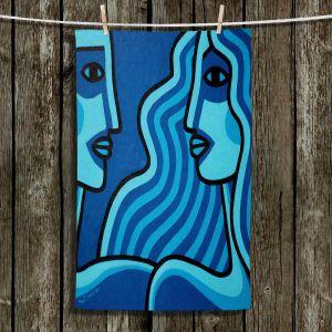 Unique Hanging Tea Towels | John Nolan - Blue Lovers | people portrait surreal abstract