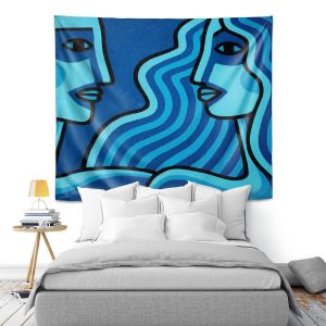 Artistic Wall Tapestry | John Nolan - Blue Lovers | people portrait surreal abstract
