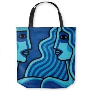 Unique Shoulder Bag Tote Bags | John Nolan - Blue Lovers | people portrait surreal abstract