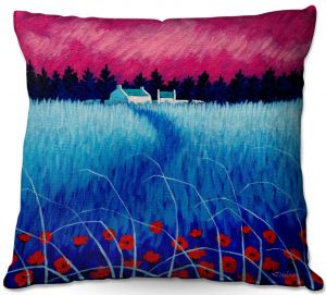 Throw Pillows Decorative Artistic   John Nolan - Blue Meadow   surreal landscape grass flowers