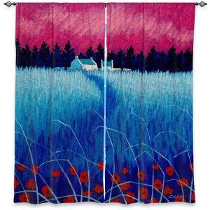 Decorative Window Treatments | John Nolan - Blue Meadow | surreal landscape grass flowers