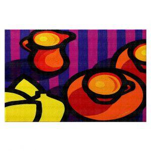 Decorative Floor Covering Mats | John Nolan - Coffee Cups | pop art shapes pattern