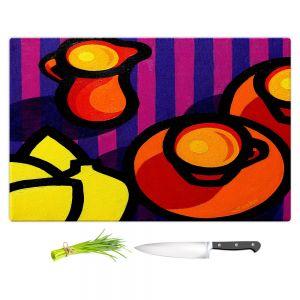 Artistic Kitchen Bar Cutting Boards | John Nolan - Coffee Cups | pop art shapes pattern