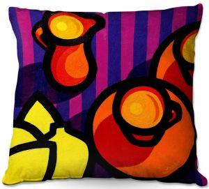 Throw Pillows Decorative Artistic | John Nolan - Coffee Cups | pop art shapes pattern