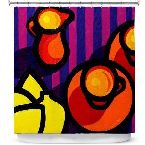 Premium Shower Curtains | John Nolan - Coffee Cups | pop art shapes pattern