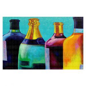 Decorative Floor Covering Mats | John Nolan - Four Wine Bottles | Drink glass spirits still life close up