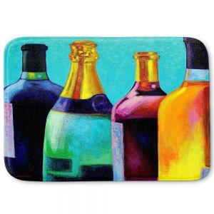 Decorative Bathroom Mats   John Nolan - Four Wine Bottles   Drink glass spirits still life close up