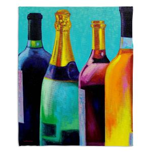 Decorative Fleece Throw Blankets | John Nolan - Four Wine Bottles | Drink glass spirits still life close up