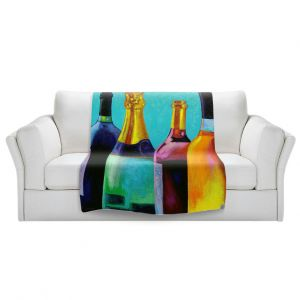 Artistic Sherpa Pile Blankets | John Nolan - Four Wine Bottles | Drink glass spirits still life close up