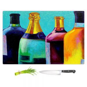 Artistic Kitchen Bar Cutting Boards | John Nolan - Four Wine Bottles | Drink glass spirits still life close up