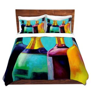 Artistic Duvet Covers and Shams Bedding | John Nolan - Four Wine Bottles | Drink glass spirits still life close up