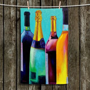 Unique Bathroom Towels | John Nolan - Four Wine Bottles | Drink glass spirits still life close up