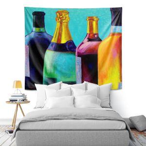 Artistic Wall Tapestry | John Nolan - Four Wine Bottles | Drink glass spirits still life close up