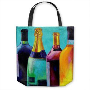 Unique Shoulder Bag Tote Bags | John Nolan - Four Wine Bottles | Drink glass spirits still life close up