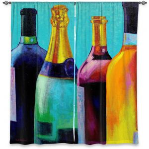 Decorative Window Treatments | John Nolan - Four Wine Bottles | Drink glass spirits still life close up
