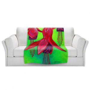 Artistic Sherpa Pile Blankets | John Nolan - Fuchsia Trio | flower nature still life
