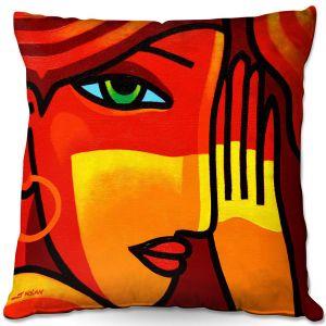 Decorative Outdoor Patio Pillow Cushion | John Nolan - Green Eyes | people portrait surreal abstract