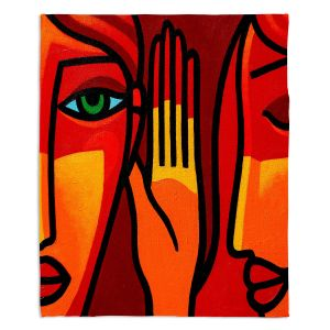 Decorative Fleece Throw Blankets | John Nolan - Hear Me Now | people portrait surreal abstract