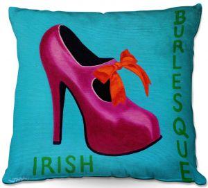 Throw Pillows Decorative Artistic | John Nolan - Irish Burlesque Shoe | Stamp heel still life close up Ireland