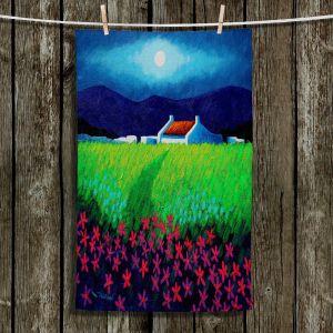 Unique Bathroom Towels   John Nolan - Moonlight Flowers   landscape farm field nature