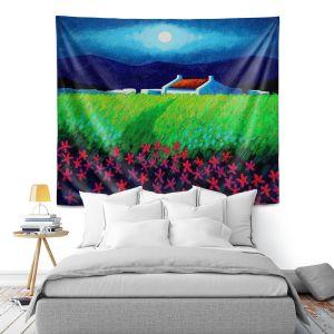 Artistic Wall Tapestry | John Nolan - Moonlight Flowers | landscape farm field nature