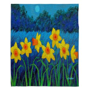 Artistic Sherpa Pile Blankets | John Nolan Moonlit Daffodils