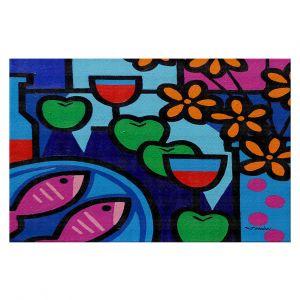 Decorative Floor Covering Mats | John Nolan - Pink Fish | still life pop art dinner food