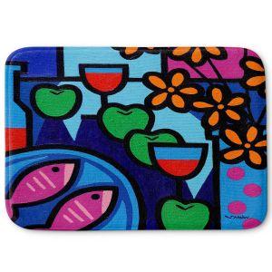 Decorative Bathroom Mats | John Nolan - Pink Fish | still life pop art dinner food
