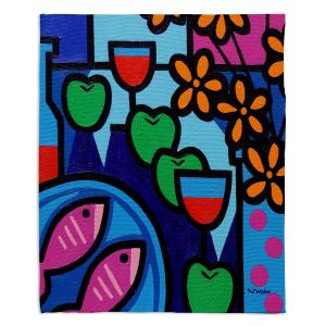 Decorative Fleece Throw Blankets | John Nolan - Pink Fish | still life pop art dinner food