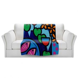 Artistic Sherpa Pile Blankets | John Nolan - Pink Fish | still life pop art dinner food