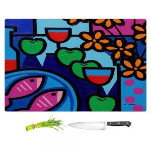 Artistic Kitchen Bar Cutting Boards | John Nolan - Pink Fish | still life pop art dinner food