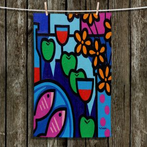 Unique Hanging Tea Towels | John Nolan - Pink Fish | still life pop art dinner food
