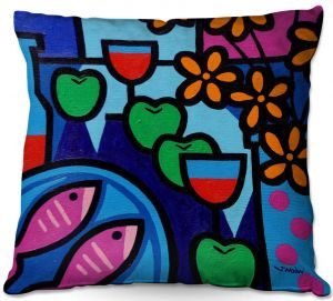 Throw Pillows Decorative Artistic | John Nolan - Pink Fish | still life pop art dinner food