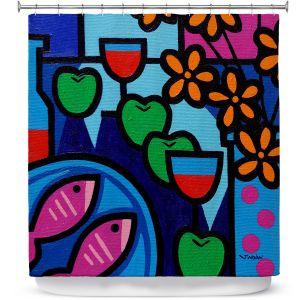 Premium Shower Curtains | John Nolan - Pink Fish | still life pop art dinner food