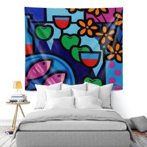 Artistic Wall Tapestry | John Nolan - Pink Fish | still life pop art dinner food