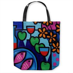 Unique Shoulder Bag Tote Bags | John Nolan - Pink Fish | still life pop art dinner food