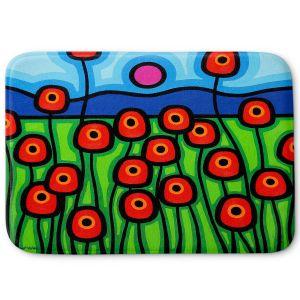 Decorative Bathroom Mats | John Nolan - Poppies Motion | landscape pop art simple flowers