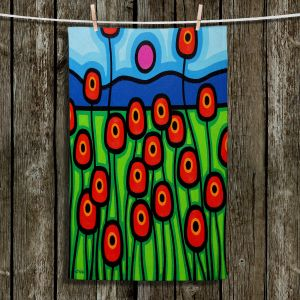 Unique Hanging Tea Towels | John Nolan - Poppies Motion | landscape pop art simple flowers