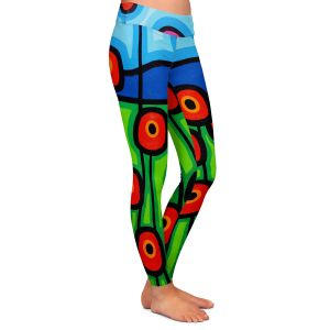 Casual Comfortable Leggings | John Nolan - Poppies Motion | landscape pop art simple flowers