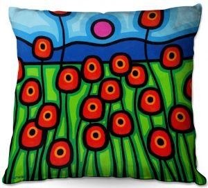 Decorative Outdoor Patio Pillow Cushion   John Nolan - Poppies Motion   landscape pop art simple flowers