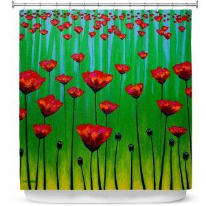Premium Shower Curtains | John Nolan - Poppy Notes | flower nature simple