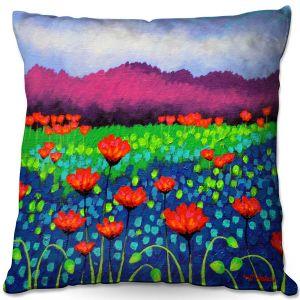 Decorative Outdoor Patio Pillow Cushion | John Nolan - Poppyscape | flower nature simple field